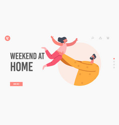 Weekend at home landing page template dad playing vector