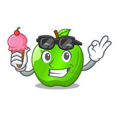with ice cream character ripe green apple with vector image