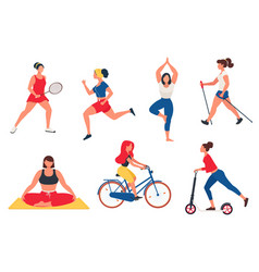 Women performing various physical activities vector
