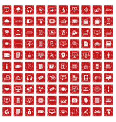 100 website icons set grunge red vector image vector image