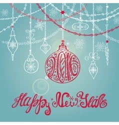 2016 New year card with ballgarlandslettering vector image