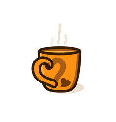 cup of coffee or tea with smoke with heart vector image vector image