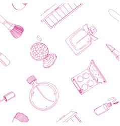 fashion cosmetics seamless pattern with make up vector image