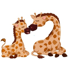 funny giraffe cartoon with her baby vector image vector image