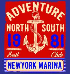 nautical design anchor graphic sailor set hand vector image