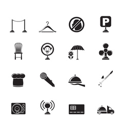Silhouette restaurant and night club icons vector image