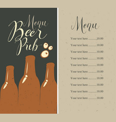 beer pub menu with bottles and price list vector image vector image
