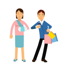 cheerful couple shopping together woman with arm vector image vector image