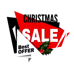 christmas sale best offer promotional emblem with vector image
