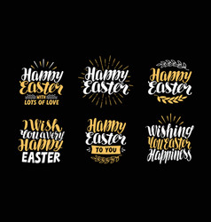 happy easter greeting card holiday label set vector image vector image