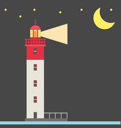 lighthouse night background flat vector image vector image