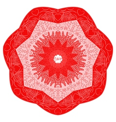 Red Valentines Day mandala inscription love vector image vector image