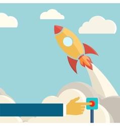 Rocket launch retro background Vintage poster vector image vector image