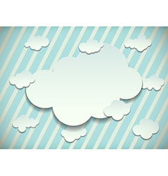 Vintage card with cut out clouds vector image