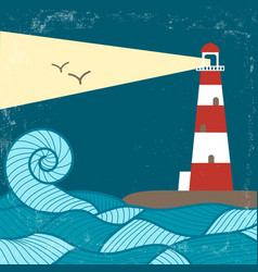 vitage poster with lighthouse vector image vector image