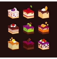 Big set of cake pieces at dark background vector image