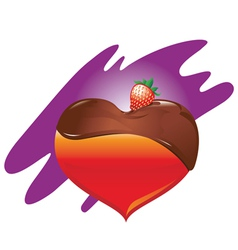 heart-chocolate-and-strawberry vector image vector image