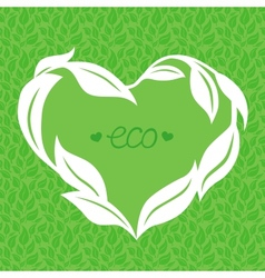 heart frame made from green leaves vector image vector image