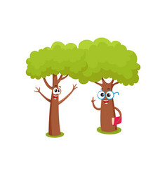 two funny tree characters in glasses holding book vector image vector image