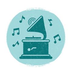 vintage gramophone music notes emblem vector image vector image