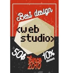 Color vintage web studio banner vector
