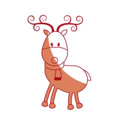 happy cartoon christmas reindeer with scarf vector image