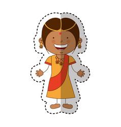 hindu little girl character vector image