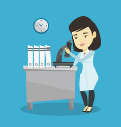laboratory assistant with microscope vector image vector image