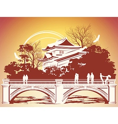 park in Japan vector image vector image
