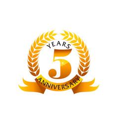 5 years ribbon anniversary vector