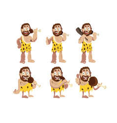 A caveman and meat set vector