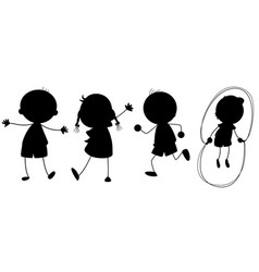 A set of silhouette children vector