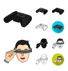 a virtual reality cartoonblackflatmonochrome vector image