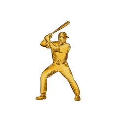 Baseball Batter Batting Bat Etching vector image