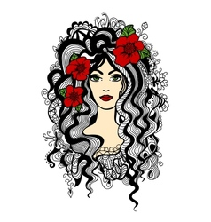 Beautiful woman with red flowers in hair vector image