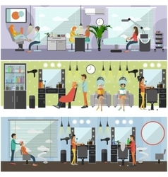 Beauty salon interior concept banners vector image vector image
