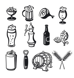beer drinks icons vector image