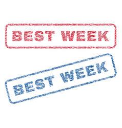 best week textile stamps vector image