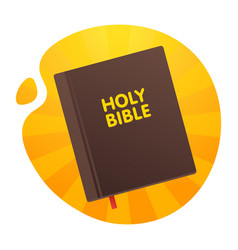 bible with the red tab on the yellow orange vector image