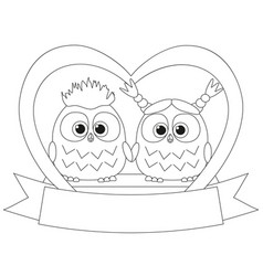 black and white valentine day poster with an owl vector image