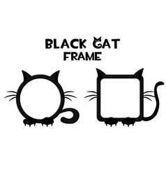 Black cat frame halloween round and square avatar vector