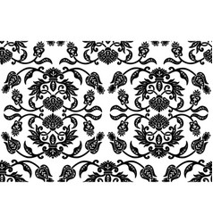 black floral ethnic seamless pattern vector image