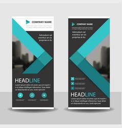 blue roll up business brochure flyer banner vector image