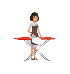 Brunette woman ironing clothes on an ironing board vector
