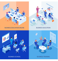 Business education isometric design concept vector