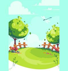 cartoon image spring lawn vector image