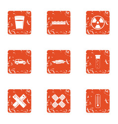 Chemical ingredient icons set grunge style vector