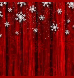 christmas snowflakes on red wood background vector image