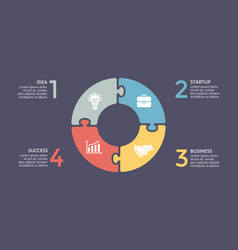 Circle arrows puzzle infographic cycle vector