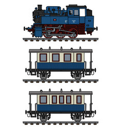 classic blue passenger steam train vector image